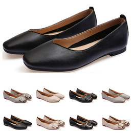 Le dimensioni delle scarpe delle donne delle ragazze online-signore pattino piano dimensione lager 33-43 womens cuoio della ragazza nuda grigio Nuovo arrivel di nozze di lavoro nero Party Dress scarpe trenta