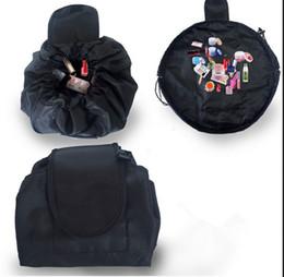 Bolsa de viaje plegable online-VELY Vely Lazy Cosmetic Bag multifunción con cordón Bolsas de maquillaje bolsa de viaje mágica de flamingo Fold Almacenamiento de maquillaje bolsas de cadena 2019