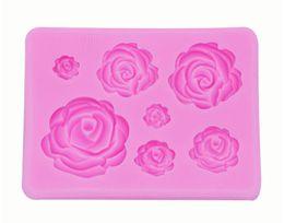 2019 stampi di fiori di rosa La muffa di forma della muffa del silicone 3D per sapone, Candy, cioccolato, ghiaccio, fiori che decora gli strumenti di decorazione libera la nave stampi di fiori di rosa economici