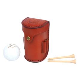 Canada Tourbon Vintage Portable Balles De Golf Tee Titulaire De Stockage 2 Balles Divot Outil Végétarien En Cuir Golf Pouch Carrier Offre
