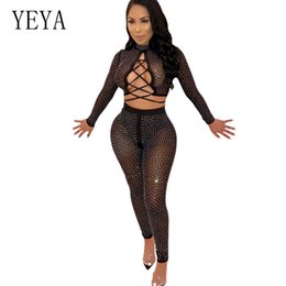Women's Clothing Boofeenaa Sheer Mesh Black Rhinestone Sexy Bodysuit Top Club Transparent Long Sleeve Body Suits For Women Clothes 2019 C94-i84 At All Costs