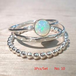 2019 anéis de mulheres espumantes Novo 3 Pcs Elegante Mulheres Sparkling Fire Opal Ring Set Jóias Tamanho 6-10 desconto anéis de mulheres espumantes