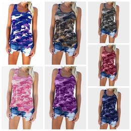 2019 moda camuflaje chaleco Señoras chalecos de verano tops de moda de camuflaje tops sin mangas Verano Tallas grandes cuello redondo camisetas femeninas rebajas moda camuflaje chaleco