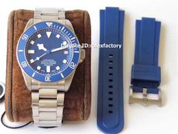 Melhor safira azul on-line-BEST Pelagos 25500TN Mens Watch Full Titanium Dial Azul ETA 2824 Automático 28800bph Cerâmica Bezel De Cristal De Safira De Luxo Relógios