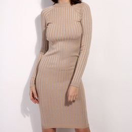 5709553480d New Autumn Winter Women Dress Knitted Long Sleeve Sweater Dress Elastic Slim  Sexy Bodycon Black O Neck Party Fit Dresses Vestido