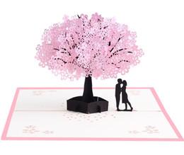 2019 tarjetas de amor 3d 3D Cherry Tree Pop Up Tarjeta Amor Tarjeta de felicitación de aniversario Tarjeta de invitación de corte por láser Tarjetas de mensaje rebajas tarjetas de amor 3d