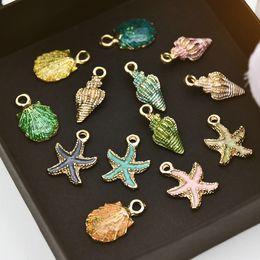 Ciondoli a conchiglia online-13 Pz Conch Sea Shell Ciondolo Gioielli fai da te Creazione di accessori fatti a mano