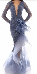 Pizzo sirena 2019 abiti da sera africani trasparenti collo in rilievo maniche lunghe abiti da ballo economici formale partito abiti da cerimonia nuziale pageant p05 da