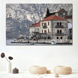 Украшения для отелей онлайн-Печать на стенах картины на холсте черногорский отель озеро гора
