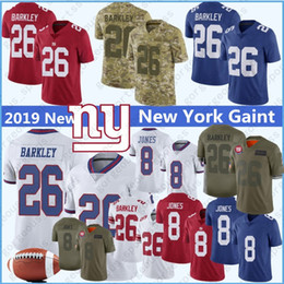 football eli manning Promotion 8 Daniel Jones 26 Saquon Barkley New Jersey York 10 Eli Manning géant 15 Brandon Marshall Collins Sterling Shepard Cousu top Maillots