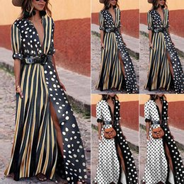 maglia maxi vestito dalla camicia Sconti 2018 Womens T-Shirt Long Maxi Dress Split Clubwear Party Solid Shirt Dress Summer Plus Size Boho Half Sleeve Swing Dots Abiti Y190117