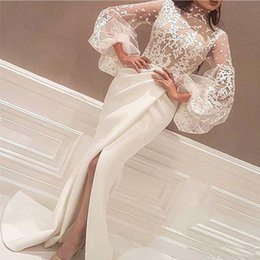 big apple orange Promo Codes - High Neck White Evening Dresses 2019 Mermaid Floor Length Lace Appliques Long Big Sleeve Mermaid Side Slit Prom Dress Party Gowns