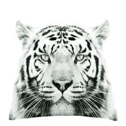 cuscini stampa tigre Sconti 4 Pz / set Lion and Tiger Animal Print Piazza Federa Cuscino In Fibra di poliestere Cuscino Divano Cuscino Decorazione Della Casa 45x45 cm L614
