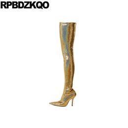9591c6177 2019 coxa grande mulheres Sobre O Joelho Stiletto Sapatos De Luxo Dedo  Apontado Coxa Botas Altas