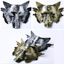 pañuelo militar Rebajas Engrosamiento Lobos Máscara Terror Horrible Retro animal Máscaras Suministros de Halloween Disfraz Bola Festival Decoración Máscara Fiesta T5I075