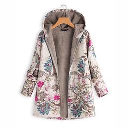 forro para casacos para mulheres Desconto Hoodies Imprimir Parka Mujer Casacos de Inverno Mulheres Engrossar Veludos Plus Size Liner Tops Bolsos Loose Warm Ladies Down Cotton