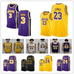 Jersey kobe 24 online-NCAA mejor calidad 100% barato cosido James Kobe Bryant 24 Jersey Kuzma LeBron James 23 Anthony Davis baloncesto Jersey 3 01
