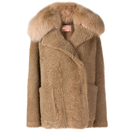 2019 abrigo de zorro Fandy Lokar Abrigos de piel sintética de lana Mujer Moda Artificial Fox Fur Trim Chaquetas de manga larga Mujeres Bolsillos elegantes Abrigos Mujer GT rebajas abrigo de zorro