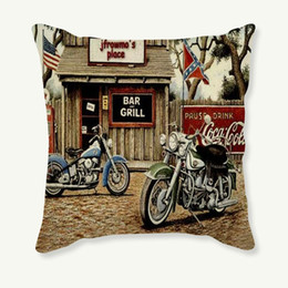 Almofadas motocicletas on-line-Almofada 45x45cm Pillowcase Motorcycle decorativa Vintage Capa retro fronha Sofá Car lençóis de algodão Capa de Almofada Home Decor