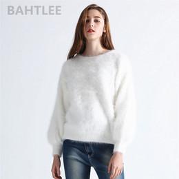 Lanternas de animais on-line-BAHTLEE outono inverno das mulheres angorá coelho pulôveres de malha camisola O-NECK lanterna manga vison cashmere espessura manter quente # 409241