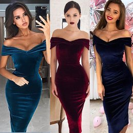 dcce98140202 Women Off Shoulder Ruched Velvet Dress High Waist Bodycon Dress Sexy Club  Party Dress Elegant Office Ladies Sheath Vestidos discount sexy blue velvet  ...