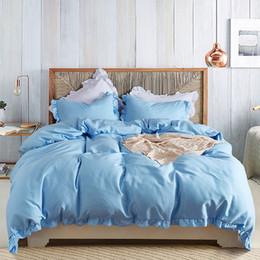 conjunto de edredons com babados Desconto Yimeis azul conjuntos de cama Ruffle Rainha Sheets Size Definir cor sólida gêmeo Consolador Define BE47113