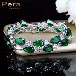 Canada Pera De Luxe CZ Vert Cubique Zircone Pierre Grandes Femmes Charme Bracelet Bracelets Bijoux De Mariée Accessoires Pour Demoiselles D'honneur B029 Offre