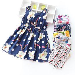 Roupa antiquado dos miúdos on-line-Roupas de bebê menina moda 2019 crianças meninas roupas Vestidos de praia verão 3-8 anos de idade 36 cores vestido floral para menina