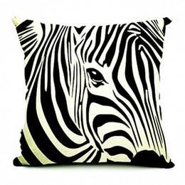 Copertine di cuscino di stampa zebra online-Kiwiberry Home Decor Lino Decorativo Copertura del Cuscino Zebra Cavallo Stampato Divano Cuscino Copre Paillettes Pillow Case 45 * 45 Cojines