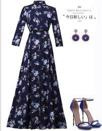 Robes de mode russes en Ligne-Hot nouvelle mode marque féminine robe longue spa été style russe robe imprimée long étage élégant Vestidos