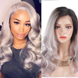 Серый фронт кружева онлайн-Полный кружева человеческих волос парики кружева фронт человеческих волос парик Ombre T1b / серый# цвет волнистые сторона часть 130% плотность парик