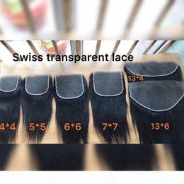 2019 reine brasilianische große tiefe welle Hd Schweizer Transparent Spitze-Stirn 4x4 5x5 6x6 7x7 13x4 13x6 Ohr zu Ohr Pre Zupforchester Spitze-Stirn Verschlüsse mit Baby-Haar