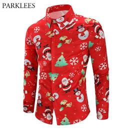 7fe32848800 Red Christmas Dress Shirt Men Santa Claus Snowmen Print Mens Xmas Party  Prom Shirts Hipster Hip Hop Blouse Chemise Homme Top 3XL