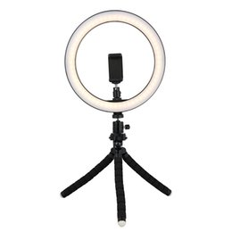 Smartphonehalter stand online-Tycipy 26cm Selfie LED Ring Light With Mini Tripod Stand Phone Holder For iPhone XS MAX 8 7 6 Plus Smartphone Photography Makeup