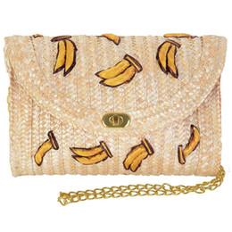 Häkeltasche online-FGGS-Straw Crossbody Crochet Umhängetasche Quaste Fringe Fashion Clutch Banana