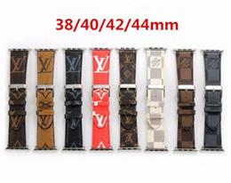 Bracelets de bande de métal en Ligne-Bracelets de montre en cuir de luxe pour Apple Watch Band 42mm 38mm 40mm 44MM iwatch 1 2 3 bandes Bracelet en cuir Bracelet de sport New Fashion Stripes
