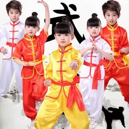 materiais de arte para crianças Desconto Crianças Wushu Traje Nova Juventude longa / mangas curtas roupas crianças Tai Chi roupas desempenho terno terno material de artes