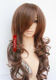 2019 sexy cheveux châtain clair Perruque + capuchon de perruque de cheveux chauds de nouvelle mode sexy long brun clair bouclés ondulés femmes sexy cheveux châtain clair pas cher