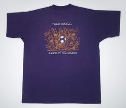 t shirt screen printing Promo Codes - Vintage Tiger Soccer T Shirt Purple college tee L XL Screen Stars 90s yellow white print football sports Kick in the Grass