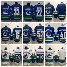 d5a3d2b2a 2019 Vancouver Canucks 33 Henrik Sedin 22 Daniel Sedin 53 Bo Horvat 6 Brock  Boeser 40 Elias Pettersson Hockey Jerseys Blue Stitched Shirts