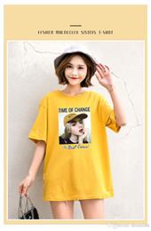 Лето с коротким рукавом многоцветный женский принт футболка о-образным вырезом футболка плюс размер Easy Top Tee 2019 женская повседневная одежда от