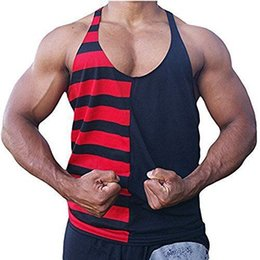 80c9ea8f5c2aed 2019 Men s Gym clothing Casual Striped O-Neck Tank Top Cotton Vest White  Black Singlet Sleeveless Men Tank Tops bodybuilding