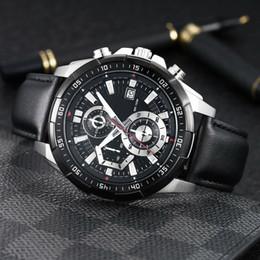 Movimento japonês on-line-EFR-539 Relógio de luxo mans banda de couro relógio 43.5mm Designer Japonês OS quartz Movement men Watch