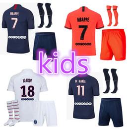 kits criança Desconto 2019 2020 Paris crianças camisa de futebol kit maillot 19 20 AJ Mbappé ICARDI Enfant Maillot pé uniforme kit de camisa Paris futebol do ar