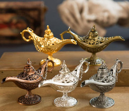 Regalos de aladdin online-Lámpara Quemador de incienso Retro Aladdin Magic Classic Lámparas Quemadores de incienso Retro Wishing Oil Lamp Home Decor regalo SN3000
