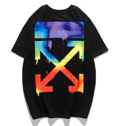 2019 gitarren-mode-t-shirt Hochwertige Herren T-Shirts OFW Sommer whtie neue 20SS Graffiti Aquarell Planeten net loses Paar mit dem gleichen kurzen Ärmel