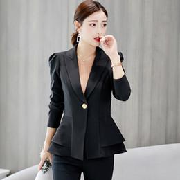 2019 женщина пальто карьера черный Весна осень 2019 дамы пр тонкий пиджак пальто женщин пиджак с длинным рукавом женщин черный пиджак рабочая одежда куртка карьера дешево женщина пальто карьера черный