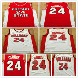 Camicia paul george online-NCAA Fresno State Bulldogs Paul # 24 George College Basket Ballsy Jersey cucito rosso bianco Paul George 24 Shirt da basket universitaria S-XXL
