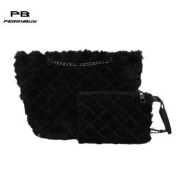 a9213754f0 wholesale fur purses Promo Codes - 2pcs set women s shoulder bags Fur  Clutch Totes Women Plush