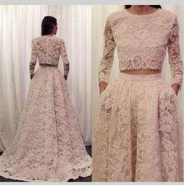 2019 vestidos brancos de mão cheia 2019 dois 2 pedaço de renda vestido de noiva árabe com bolso manga comprida colher zíper de volta vestido de casamento